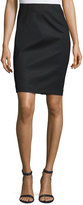 Neiman Marcus Crepe Pencil Skirt, Black