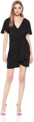 C/Meo Women's Recollect TIE Front V Neck Short Sleeve Tulip Hem Mini Dress