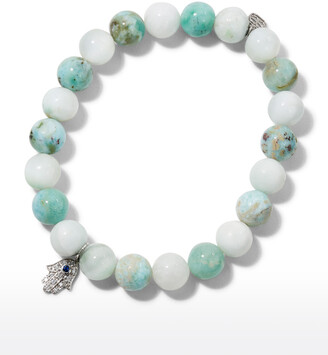 Sydney Evan 8mm Beaded Larimar Bracelet with Diamond Hamsa Charm