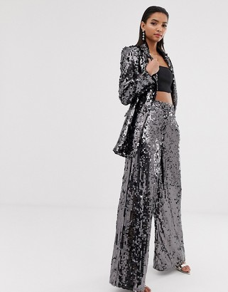 Asos Edition EDITION sequin wide leg flare pants-Silver
