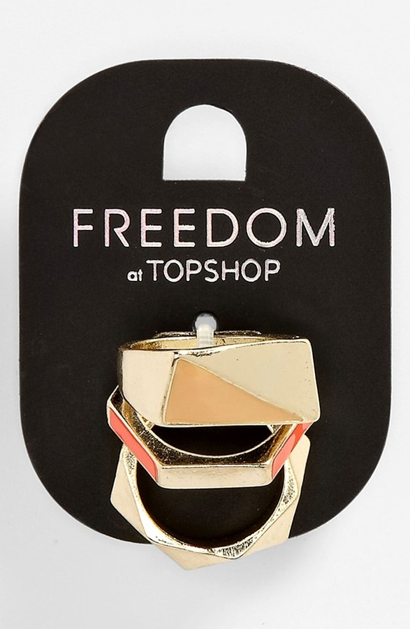 Topshop 'Neon' Rings (Set of 3) Neon Multi Small