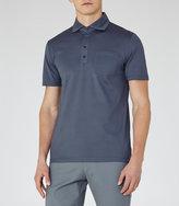 Reiss Reiss Spirito - Pique Cotton Polo Shirt In Blue
