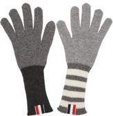 Thom Browne Grey Rib Cashmere Funmix Four Bar Gloves