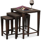 Aldin Set of 3 Outdoor Wicker Nested Tables, Direct Ship