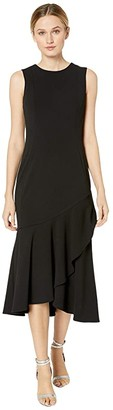 Calvin Klein Ruffle Hem Midi Dress (Black) Women's Dress