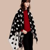 Burberry Heart Jacquard Merino Wool Poncho