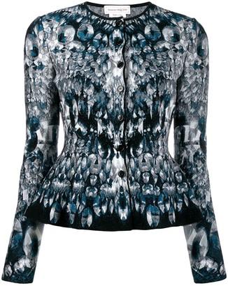 Alexander McQueen abstract pattern knitted peplum cardigan