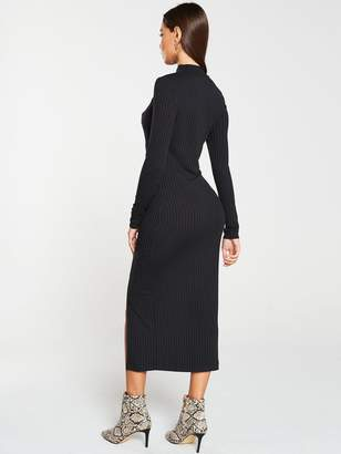 Very Ribbed High Neck Mock Horn Button Midi Dress - Black