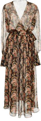 Oscar de la Renta Floral-Print Silk-Chiffon Midi Dress