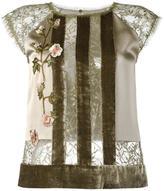 Alberta Ferretti striped floral lace blouse - women - Silk/Polyamide/Polyester/Rayon - 40