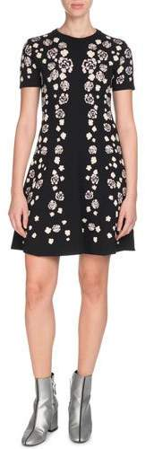 Kenzo Short-Sleeve Floral Fit-and-Flare Dress