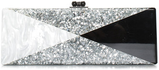 Edie Parker Silver & Black Acrylic Triangle Clutch