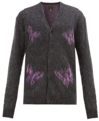 Needles Butterfly Jacquard Mohair Blend Cardigan - Mens - Grey