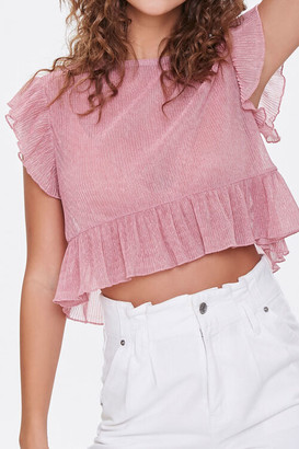 Forever 21 Pleated Ruffle-Trim Top