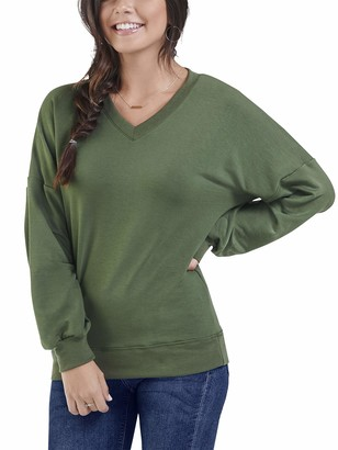 Fruit of the Loom Seek No Further by Women's Brushed Fleece Long Sleeve V Neck Blouse