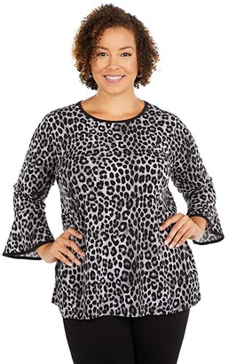 MICHAEL Michael Kors Size Cheetah Flutter Sleeve Top (Gunmetal 2) Women's Clothing