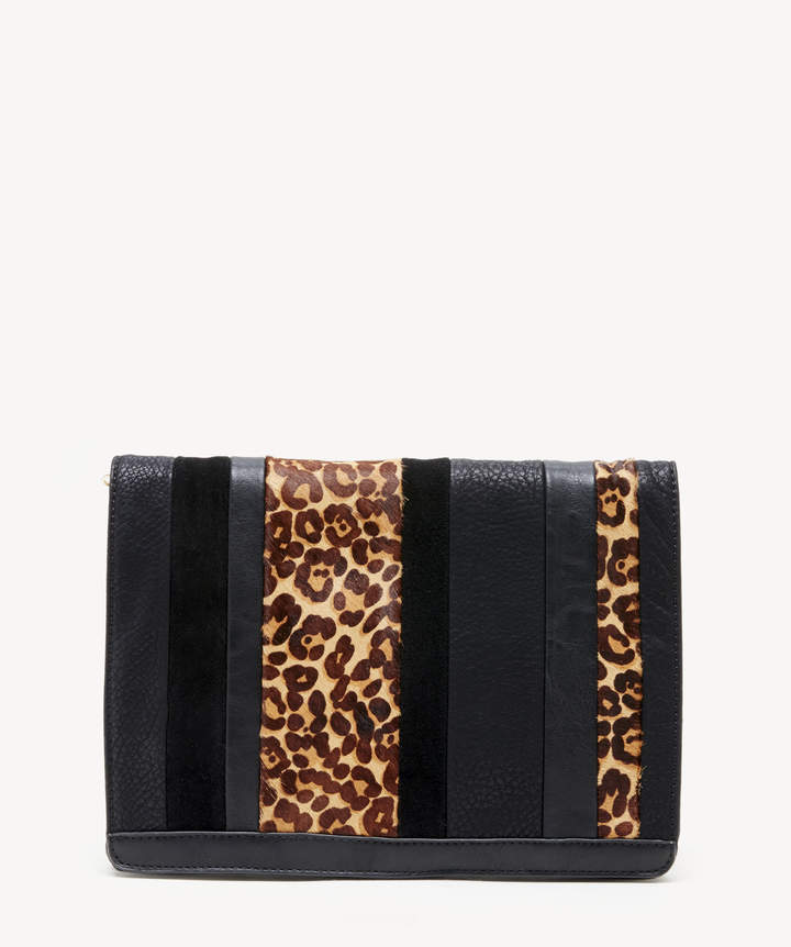 Sole Society Women's Ragna Clutch Genuine Suede Mix Black Leopard Vegan Leather Genuine Suede From