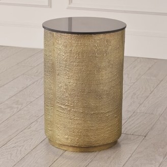 Global Views Hemp Etched End Table Table Base Color: Antique Brass
