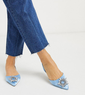 ASOS DESIGN Wide Fit Luminous embellished slingback ballet flats in blue