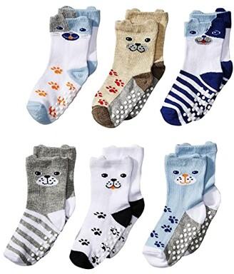 Jefferies Socks Non-Skid Dog Socks 6-Pack (Infant/Toddler) (Multi) Boys Shoes