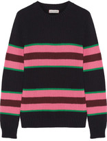 Chinti and Parker Striped Cotton And Silk-blend Sweater - Midnight blue