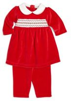 Kissy Kissy Baby's Two-Piece Smocked Velour Dress & Leggings Set