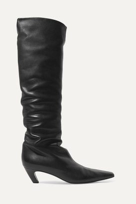KHAITE Leather Knee Boots - Black