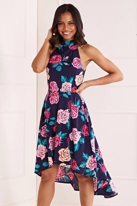 Yumi Rose Flower Asymmetric Dress