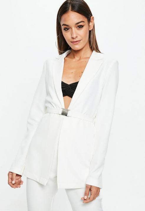 Missguided Tall White Belted Blazer