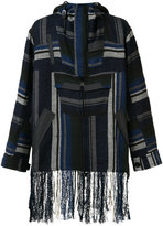 Sacai fringed Mexican stripe parka - men - Cotton/Rayon - 2