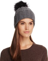 Inverni Cashmere Ribbed Beanie with Asiatic Raccoon Fur Pom-Pom