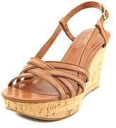 Lauren Ralph Lauren Quaylin Women Open Toe Leather Tan Wedge Sandal.