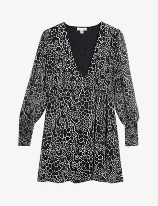 Topshop Graphic-print crepe mini dress