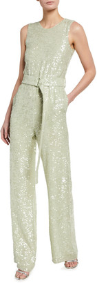 Sally LaPointe Sequined Viscose Crewneck Belted Jumpsuit