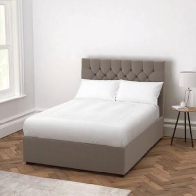 The White Company Richmond Velvet Bed - Headboard Height 154cm, Silver Grey Velvet, Emperor