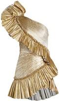 Raisa Vanessa One-Shoulder Metalic Mini Ruffle A-Line Dress