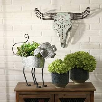 Sagebrook Home White Metal Bull Skull Wall Sculpture Animal Head