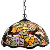 AMORA Amora Lighting AM104HL16 Tiffany Style Floral Hanging Lamp 2 Light 16 In Wide