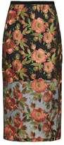 Topshop Mesh and flower applique midi skirt