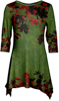 Azalea Red & Green Floral Sidetail Tunic - Plus Too