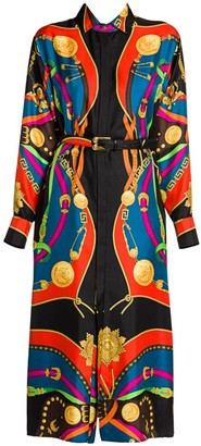 Versace Rodeo Night Silk Twill Belted Shirtdress