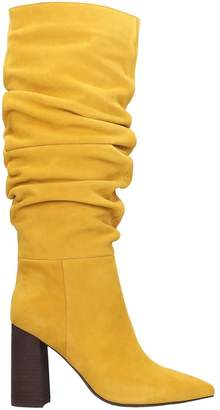 Jeffrey Campbell Siren 3sl Boots In Yellow Suede