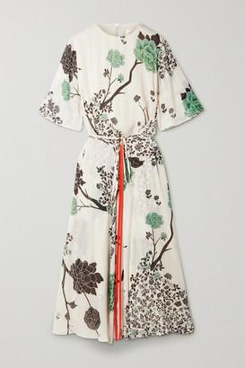 Victoria Victoria Beckham Belted Floral-print Crepon Midi Dress - Cream