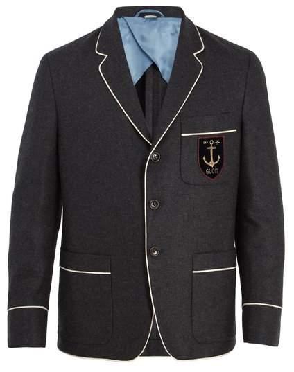 Gucci Logo Applique Cashmere Blazer - Mens - Navy