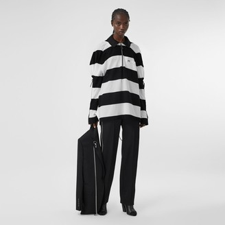 Burberry Zip Detai Striped Cotton Pique Oversized Rugby Shirt