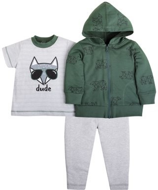 Little Star Organic Baby & Toddler Boy Pure Organic, 3 pc Outfit Set