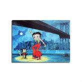 Betty Boop Lenticular Photo Album 4 x6 inch. ,3D Rock n Roll under New York Brooklyn, Blue