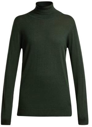 Raey Roll-neck Fine-knit Cashmere Sweater - Womens - Dark Green