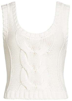 STAUD Kind Cable-Knit Cropped Top