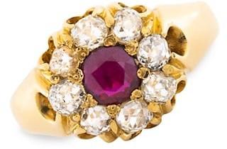 Stephanie Windsor Victorian 18K Yellow Gold, Ruby & Diamond Halo Ring